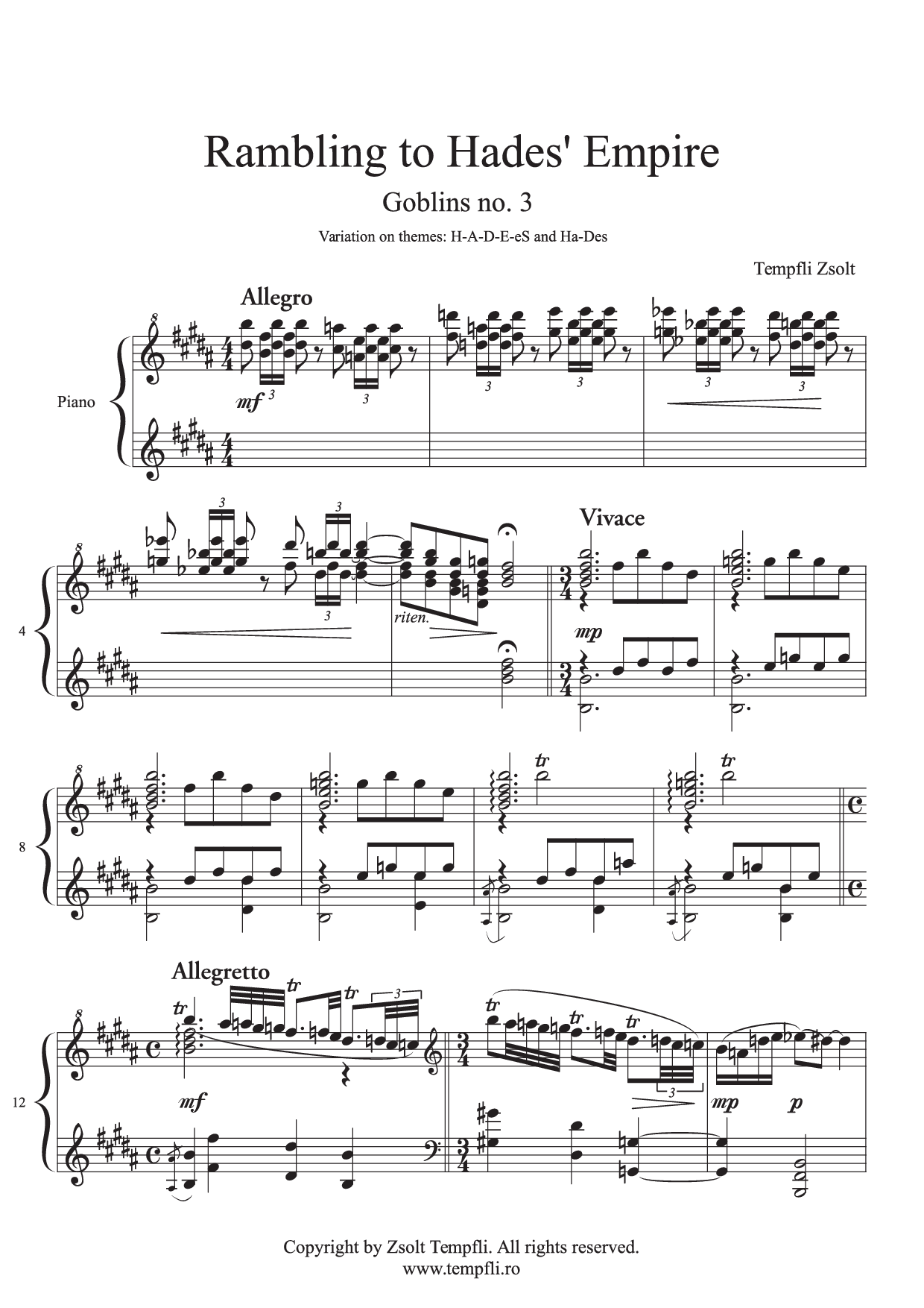 Zsolt Tempfli: Goblins - Rambling To Hades' Empire op. 15 no. 3 for piano