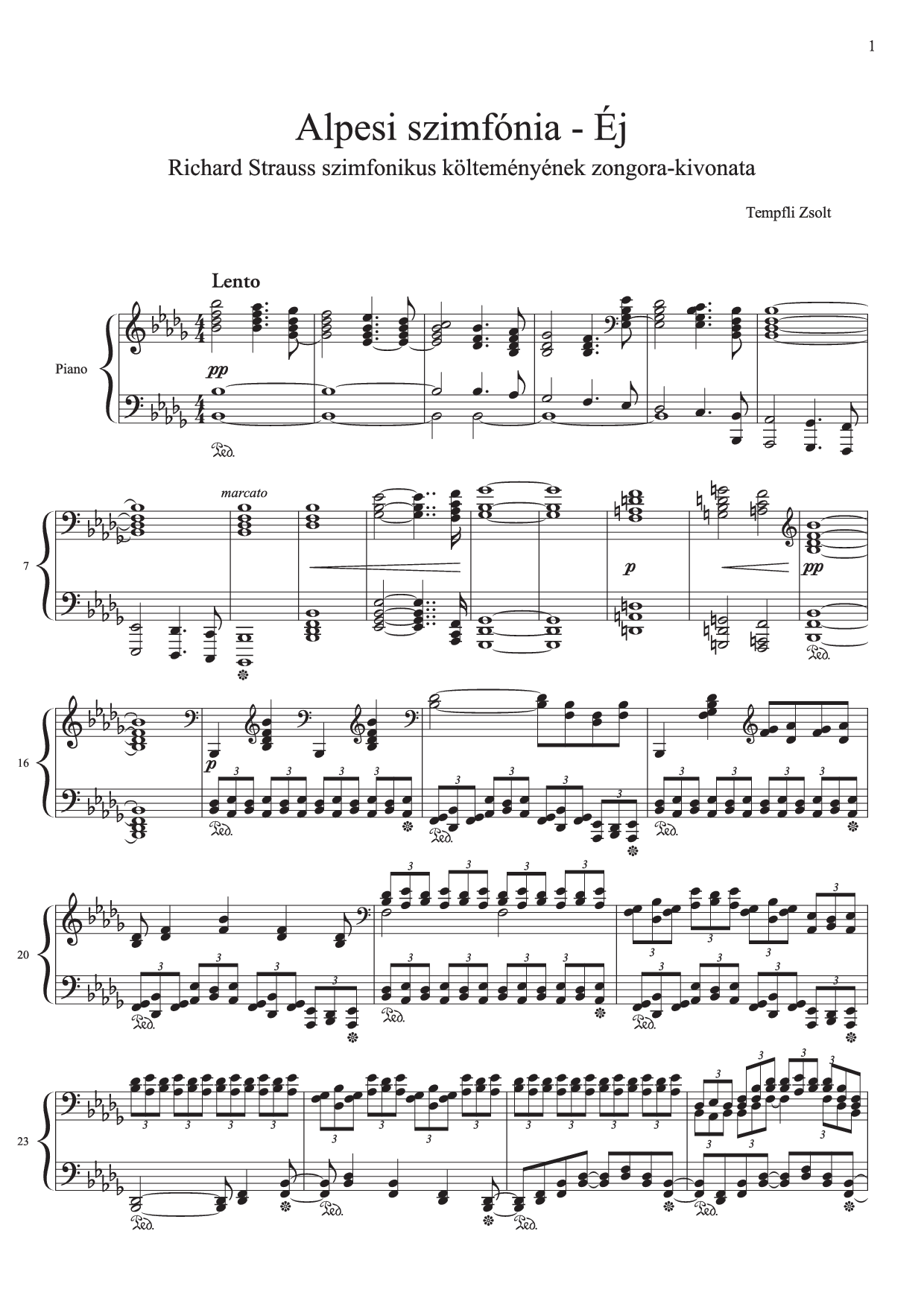 Richard Strauss An Alpine Symphony Night piano transcription